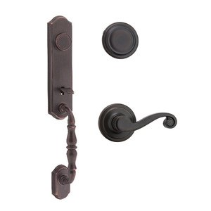 Kwikset Door Hardware Amherst Dummy Handleset with Lido Interior Inactive Handleset Trim Right Hand Door Lever - Inside Dummy Trim In Venetian Bronze