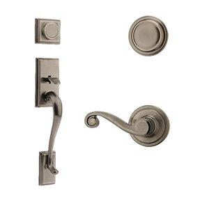 Kwikset Door Hardware Hawthorne Dummy Handleset With Lido Interior Inactive Handleset Trim Left Hand Door Lever - Inside Dummy Trim In Antique Nickel