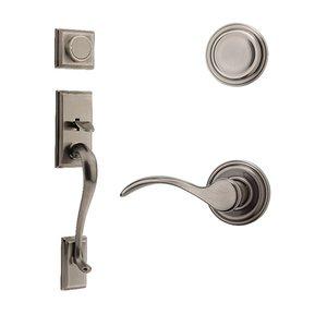 Kwikset Door Hardware Hawthorne Dummy Handleset With Pembroke Interior Inactive Handleset Trim Left Hand Door Lever - Inside Dummy Trim In Antique Nickel