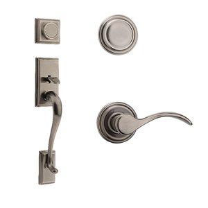 Kwikset Door Hardware Hawthorne Dummy Handleset With Pembroke Interior Inactive Handleset Trim Right Hand Door Lever - Inside Dummy Trim In Antique Nickel