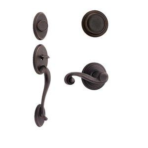 Kwikset Door Hardware Shelburne Dummy Handleset with Lido Interior Inactive Handleset Trim Left Hand Door Lever - Inside Dummy Trim In Venetian Bronze