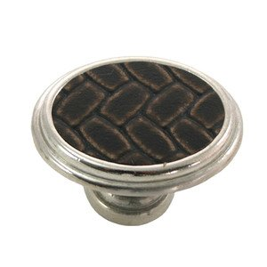 """Laurey Hardware 1 5/8"""" Oval Knob in Polished Nickel with Brown Leather Insert"""