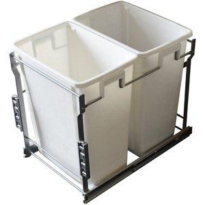 Laurey Hardware 35L Double-Bottom Mount- Pull-Out  Waste Bin w Door Mounting Kit