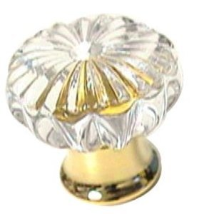 LB Brass 30mm Small Clear Crystal Knob in Polished Chrome