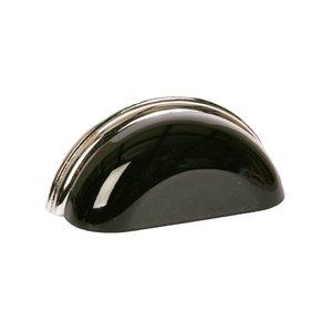 "Lews Hardware 3"" (76mm) Centers Metal Bin Pull in Gloss Black/Polished Chrome"