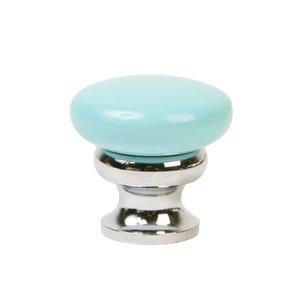 "Lews Hardware 1 1/4"" (32mm) Mushroom Knob in Robin's Egg Blue/Polished Chrome"