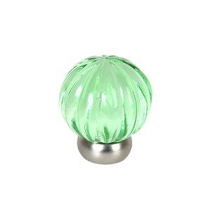 "Lews Hardware 1 1/4"" (32mm) Diameter Melon Glass Knob in Transparent Green/Brushed Nickel"