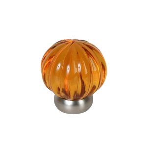 "Lews Hardware 1 1/4"" (32mm) Diameter Melon Glass Knob in Transparent Amber/Brushed Nickel"