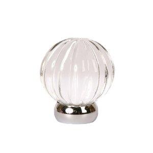 "Lews Hardware 1 1/4"" (32mm) Diameter Melon Glass Knob in Transparent Clear/Polished Chrome"