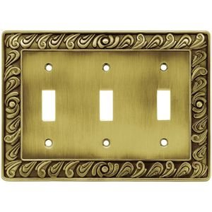 Liberty Hardware Triple Toggle in Tumbled Antique Brass