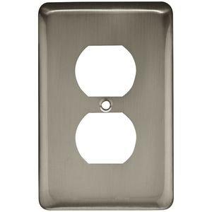 Liberty Hardware Brainerd Stamped Steel Round Single Duplex Outlet in Satin Nickel