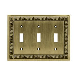 Liberty Hardware Greek Key Triple Toggle in Antique Brass