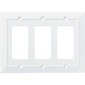 Liberty Hardware Triple GFI/Rocker Wall Plate in Pure White