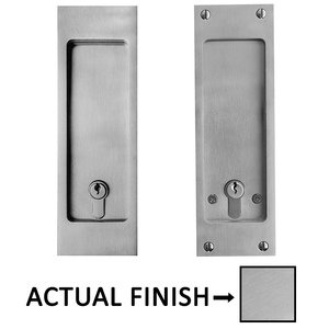 "Linnea Hardware 8 1/4"" Square Dummy Entry Pocket Door Lock in Satin Stainless Steel"