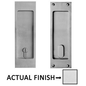 """Linnea Hardware 8 1/4"""" Square Privacy Pocket Door Lock in Polished Stainless Steel"""