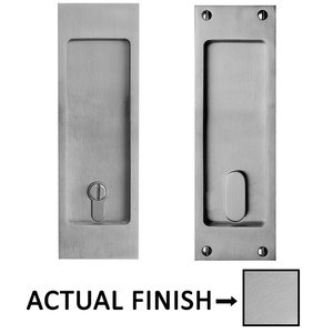 "Linnea Hardware 8 1/4"" Square Privacy Pocket Door Lock in Satin Stainless Steel"