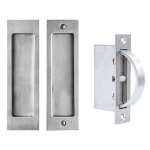 "Linnea Hardware 6 1/4"" Rectangular Passage Pocket Door Lock in Satin Stainless Steel"