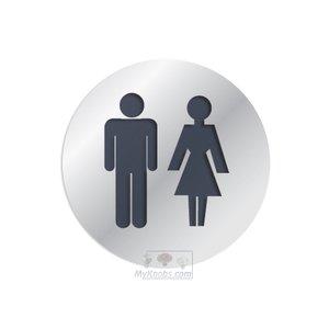"Linnea Hardware 3"" Diameter Bathroom Sign in Polished Stainless Steel"