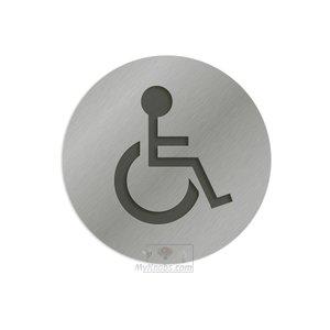 "Linnea Hardware 3"" Diameter Handicap Bathroom Sign in Satin Stainless Steel"