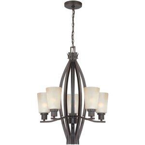 "Lite Source 29 1/4"" Tall 5-Light in Dark Bronze with Light Amber Glass"
