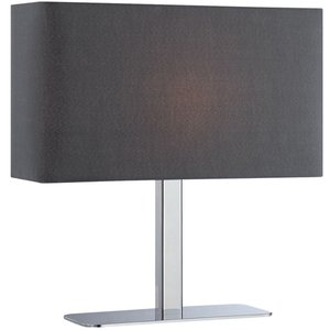 """Lite Source 14 3/4"""" Tall Table Lamp in Chrome with Black Fabric Shade"""