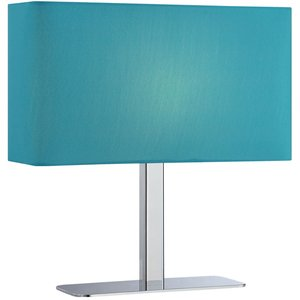 "Lite Source - Levon 15 1/4"" Tall Table Lamp in Chrome with Blue Fabric Shade"