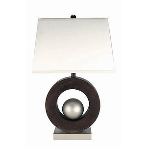 "Lite Source 29 1/2"" Tall Table Lamp in Polished Steel/Dark Walnut"