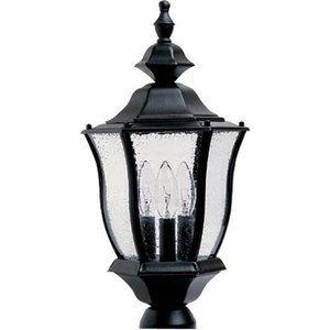 "Maxim Lighting 9 1/2"" Cast 3-Light Outdoor Pole/Post Lantern in Black"