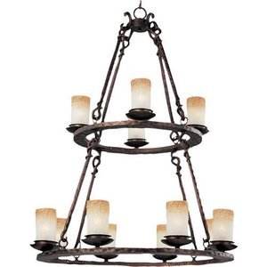 """Maxim Lighting 32"""" 12-Light Chandelier in Oil Rubbed Bronze with Wilshire Glass"""