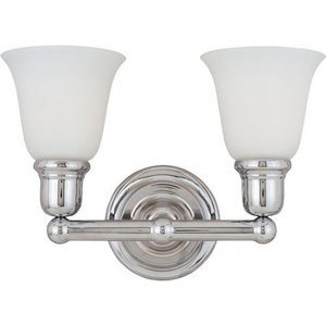 """Maxim Lighting 15 1/2"""" 2-Light Bath Vanity in Polished Chrome with White Glass"""