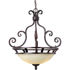 "Maxim Lighting -  23"" Manor 3-Light Invert Bowl Pendant in Oil Rubbed Bronze with Frosted Ivory Glass"