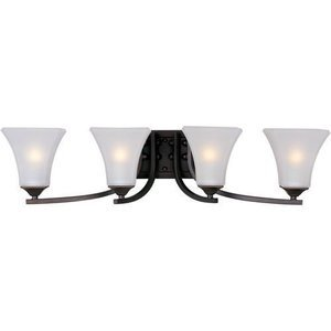 """Maxim Lighting 29 1/2"""" 4-Light Bath Vanity in Oil Rubbed Bronze with Frosted Glass"""