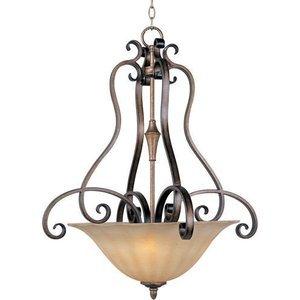 """Maxim Lighting 25 1/2"""" 3-Light Invert Bowl Pendant in Platinum Dusk with Wilshire Glass"""