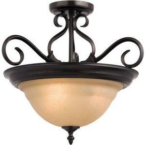 "Maxim Lighting 18 1/2"" 3-Light Semi-Flush Mount in Kentucky Bronze with Wilshire Glass"