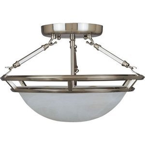 """Maxim Lighting 14 1/2"""" 3-Light Semi-Flush Mount in Pewter with Marble Glass"""