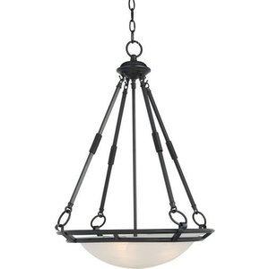 "Maxim Lighting 20"" 4-Light Invert Bowl Pendant in Bronze with Marble Glass"