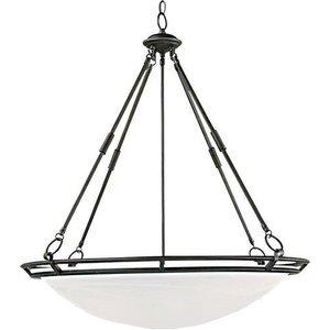 "Maxim Lighting 27 1/2"" 6-Light Invert Bowl Pendant in Bronze with Marble Glass"