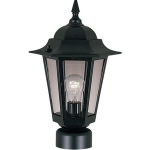 """Maxim Lighting 8"""" 1-Light Outdoor Pole/Post Lantern in Black with Clear Glass"""