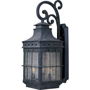 "Maxim Lighting 11"" 4-Light Outdoor Wall Lantern in Country Forge with Seedy Glass"