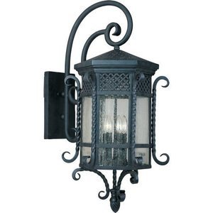 """Maxim Lighting 17"""" 5-Light Outdoor Wall Lantern in Country Forge with Seedy Glass"""