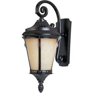 "Maxim Lighting 9"" Cast 1-Light Outdoor Wall Lantern in Espresso with Latte Glass"