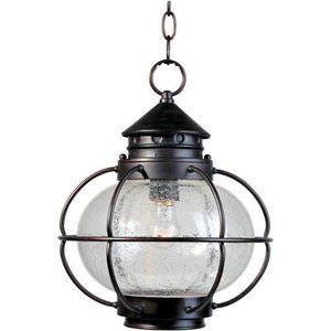 """Maxim Lighting 12"""" 1-Light Outdoor Hanging Lantern in Oil Rubbed Bronze with Seedy Glass"""