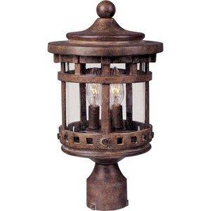 "Maxim Lighting 11"" Cast 3-LT Outdoor Pole/Post Lantern in Sienna with Seedy Glass"