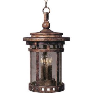 "Maxim Lighting -  9"" Santa Barbara Cast 3-Light Outdoor Hanging Lantern in Sienna with Seedy Glass"