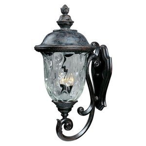 "Maxim Lighting 14"" 3-Light Outdoor Wall Lantern in Oriental Bronze with Water Glass"
