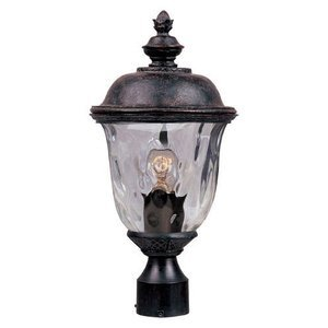"Maxim Lighting 9"" 1-LT Outdoor Pole/Post Lantern in Oriental Bronze with Water Glass"