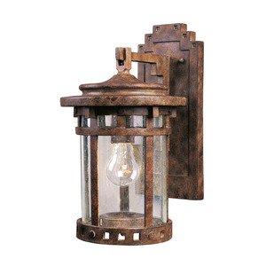 "Maxim Lighting 7"" 1-Light Outdoor Wall Lantern in Sienna with Seedy Glass"
