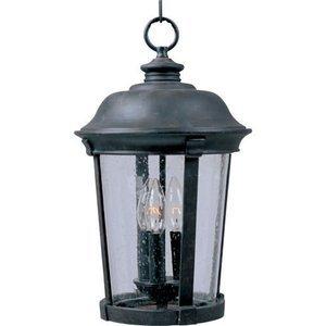 "Maxim Lighting 12"" 3-Light Outdoor Hanging Lantern in Bronze with Seedy Glass"