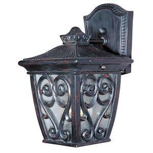 "Maxim Lighting 6 1/2"" 1-Light Outdoor Wall Lantern in Oriental Bronze with Seedy Glass"
