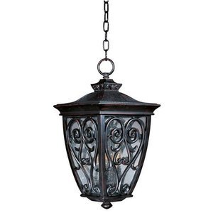 "Maxim Lighting 11 1/2"" 3-Light Outdoor Hanging Lantern in Oriental Bronze with Seedy Glass"